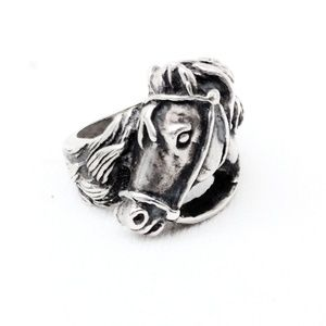 Heavy Vintage Mexican Sterling Horse Head Ring- 9